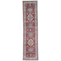 Hand-Knotted Tribal Design Super Kazak Runner Rug (2'8x10'10)
