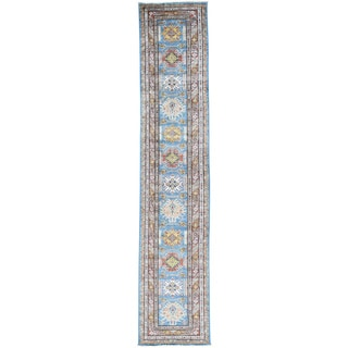 Hand-Knotted Runner Tribal Super Kazak Oriental Rug (2'8x13'4)