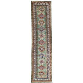 Hand-Knotted Super Kazak Tribal Design Runner Oriental Rug (2'5x10')