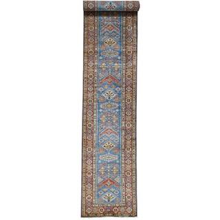 Hand-Knotted Super Kazak Runner Tribal Design Rug (2'8x17'6)