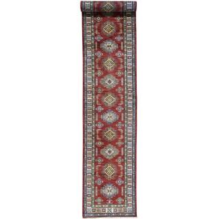 Hand-Knotted Runner Super Kazak Wool Oriental Rug (2'9x17'10)