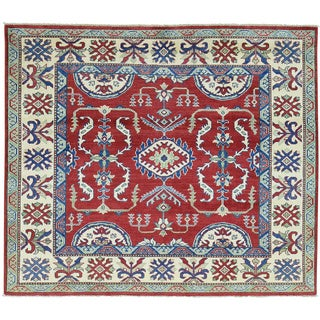 Hand-Knotted Kazak Red square Tribal Design Oriental Rug (5'2x6')