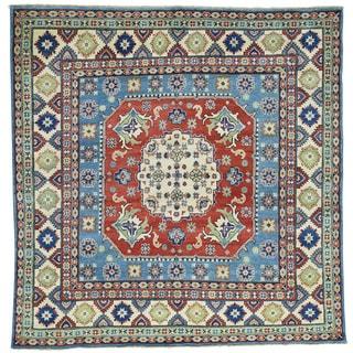 Hand-Knotted Kazak Square Geometric Design Oriental Rug (6'8x6'10)