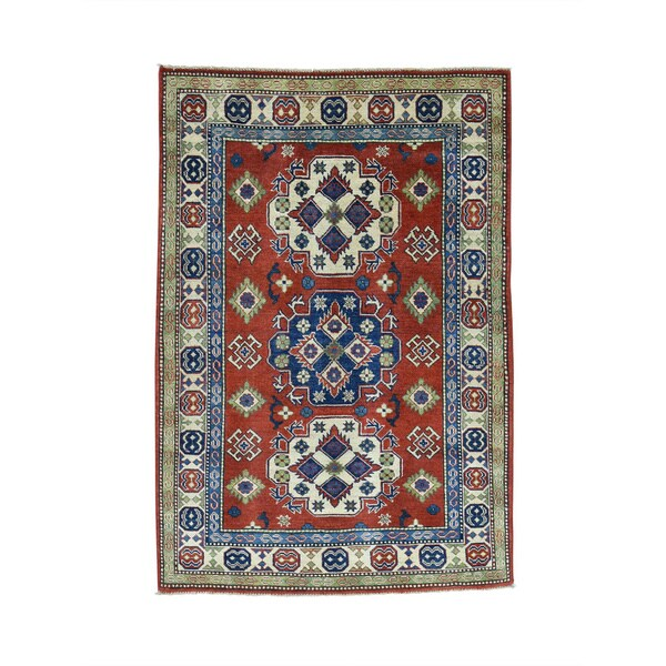 Hand-Knotted Red Kazak Tribal Design Oriental Rug (4'x6')