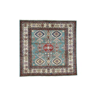 Hand-Knotted Teal Square Super Kazak Tribal Design Rug (4'9x5')