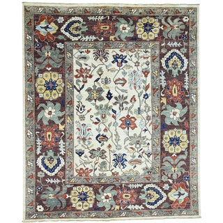 Hand-Knotted Peshawar Vegetable Dyes Wool Oriental Rug (8'1x10')