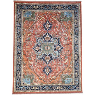Hand-Knotted Afghan Ersari With Serapi Design Wool Rug (9'x12')