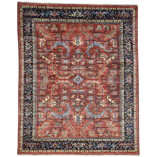 Hand-Knotted Afghan Ersari All Over Heriz Design Rug (8'x10'1)