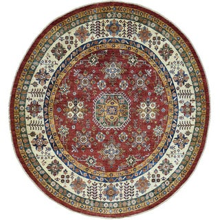 Red Round Super Kazak Oriental Rug Hand-Made Wool (6'3x6'8)