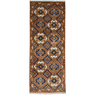 Gallery Size Afghan Ersari Hand-Made Wool Oriental Rug (4'1x10'6)