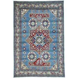 Hand-Knotted Sky Blue Kazak Tribal Design Oriental Carpet (6'x9')