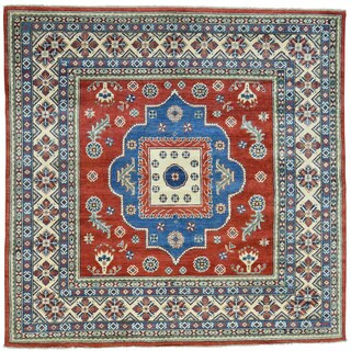 Hand-Knotted Kazak Square Tribal Design Oriental Carpet (6'7x6'7)