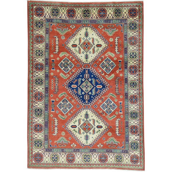 Hand-Knotted Kazak Tribal Design Oriental Carpet - 5'6x8'