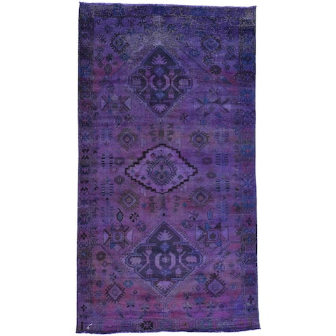Hand-Knotted Purple Overdyed Persian Bakhtiar Rug (5'4x9'9)