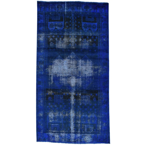 Hand-Knotted Overdyed Persian Qashqai Gallery Size Rug - 4'8x9'