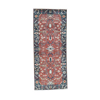 Hand-Knotted Antiqued Heriz Runner All Over Design Rug (2'8x6'7)