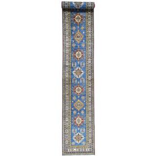 Hand-Knotted Super Kazak Geometric Design Runner Rug (2'8x20'3)