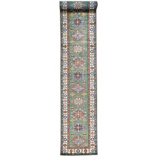 Hand-Knotted Runner Tribal Design Super Kazak Carpet (2'10x21'4)