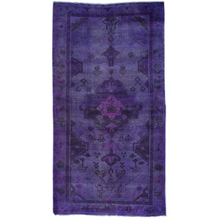 Hand-Knotted Overdyed Persian Tabriz Runner Oriental Rug (4'9x8'8)