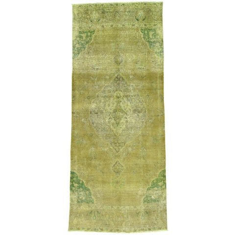 Hand-Knotted Runner Overdyed Persian Tabriz Oriental Rug (5'x12'3)