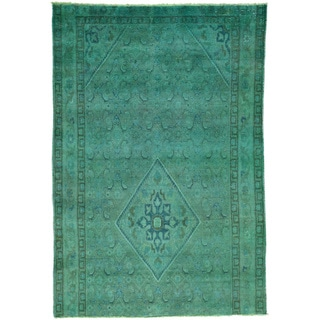 Hand-Knotted Wool Overdyed Persian Mashad Oriental Rug (4'8x6'9)