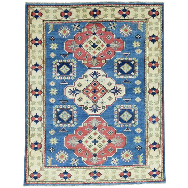Hand-Knotted Tribal Design Kazak Wool Oriental Rug (5'1x6'9)