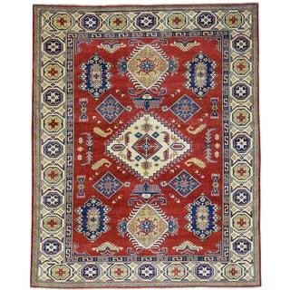 Hand-Knotted Wool Red Kazak Tribal Design Oriental Rug (6'9x8'5)