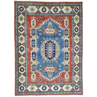 Hand-Knotted Geometric Design Kazak Wool Oriental Rug (5'8x7'10)