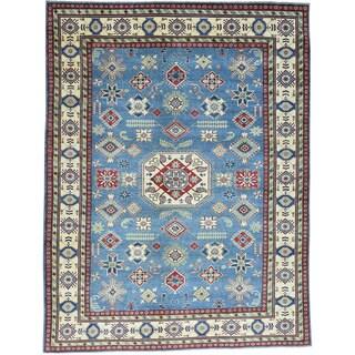 Hand-Knotted Sky Blue Kazak Geometric Design Oriental Rug (10'x13')