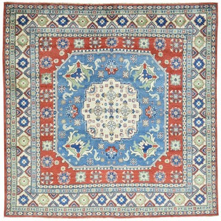 Hand-Knotted Square Kazak Wool Oriental Rug (8'1x8'1)