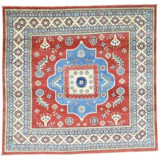Hand-Knotted Square Kazak Geometric Design Oriental Rug (7'7x7'10)