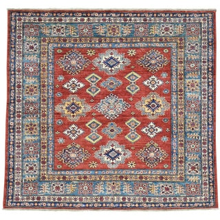 Hand-Knotted Red Super Kazak Square Wool Oriental Rug (5'9x6'1)