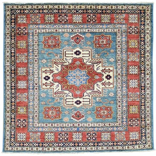 Hand-Knotted Super Kazak Square Tribal Design Oriental Rug (5'x5')