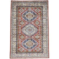 Hand-Knotted Tribal Design Super Kazak Wool Oriental Rug (5'8x8'6)