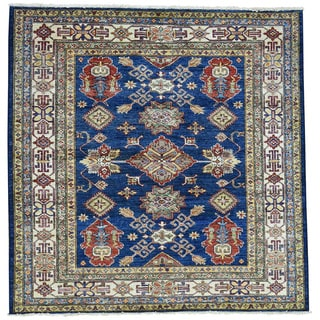 Hand-Knotted Super Kazak Tribal Design Wool Square Rug (5'x5')