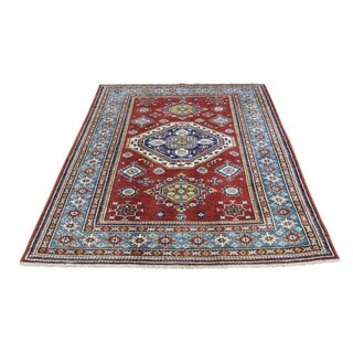 Hand-Knotted Wool Super Kazak Tribal Design Oriental Rug (4'2x5'4)
