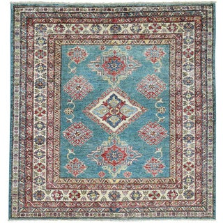 Hand-Knotted Super Kazak Square Tribal Design Oriental Rug (5'x5'1)