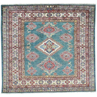 Hand-Knotted Super Kazak Square Wool Oriental Rug (4'7x4'10)