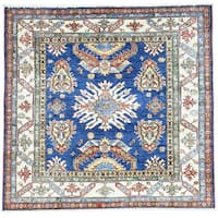 Hand-Knotted Square Super Kazak Tribal Design Oriental Rug (5'x5'1)