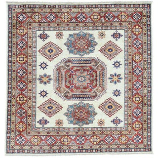 Hand-Knotted Super Kazak Square Ivory Wool Oriental Rug (5'2x5'3)