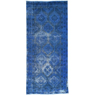 Hand-Knotted Runner Persian Shiraz Overdyed Rug (4'10x10'8)