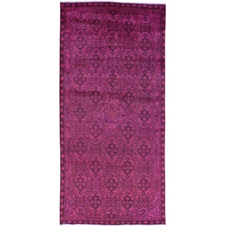 Hand-Knotted Runner Persian Hamadan Pink Overdyed Rug (4'5x9'3)