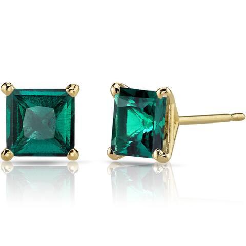 Oravo 14k Yellow Gold 2ct TGW Created Emerald Princess-cut Stud Earrings