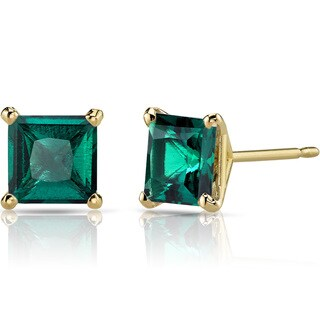 Oravo 14k Yellow Gold 2ct TGW Created Emerald Princess-cut Stud Earrings