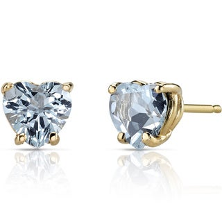 Oravo 14k Yellow Gold 1 1/2ct TGW Aquamarine Heart Shape Stud Earrings