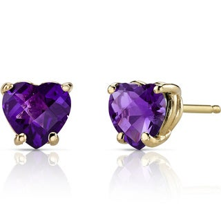 Oravo 14k Yellow Gold 1 1/2ct TGW Amethyst Heart Shape Stud Earrings