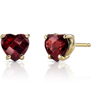 Oravo 14k Yellow Gold 1 3/4ct TGW Garnet Heart Shape Stud Earrings