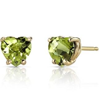 Oravo 14k Yellow Gold 1 3/4ct TGW Peridot Heart Shape Stud Earrings