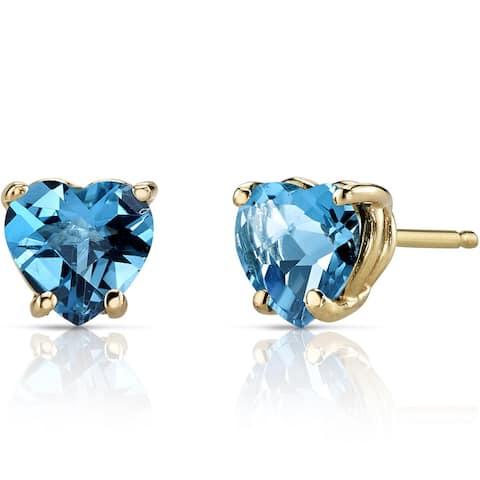 Oravo 14k Yellow Gold 1 3/4ct TGW Swiss Blue Topaz Heart Shape Stud Earrings