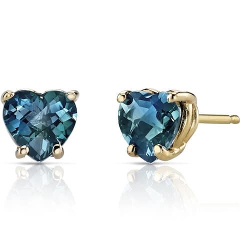 Oravo 14k Yellow Gold 2ct TGW London Blue Topaz Heart Shape Stud Earrings